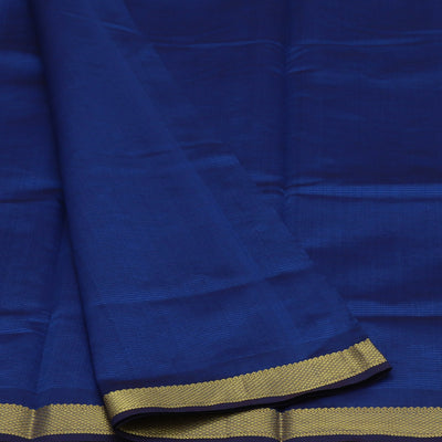 Blended Cotton Saree Blue and Dark Purple with Simple zari border 9 Yards