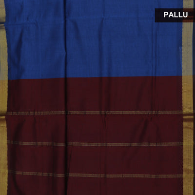 Blended Cotton Saree Blue and Brown with Simple zari border 9 Yards