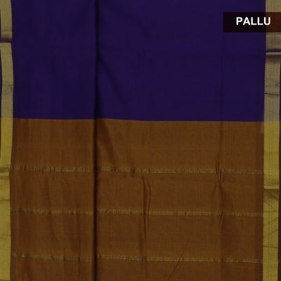 Blended Cotton Saree dark Blue and Mustard with Simple zari border 9 Yards
