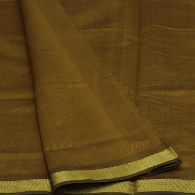Blended Cotton Saree Dark Mustard and Dark Maroon with Simple zari border 9 Yards