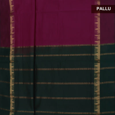 Blended Cotton Saree Dark Pink shade and Dark Green with Temple zari border 9 Yard for Rs.Rs. 1990.00 | Cotton Sarees by Prashanti Sarees