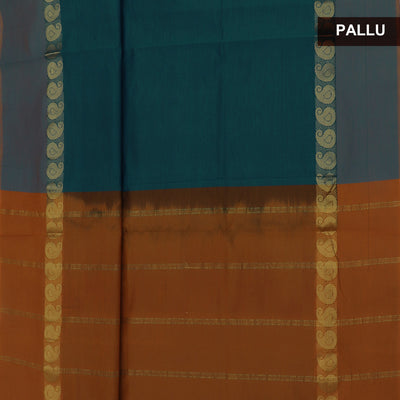Blended Cotton Saree Peacock Blue and Dark Mustard with Mango zari border 9 Yard