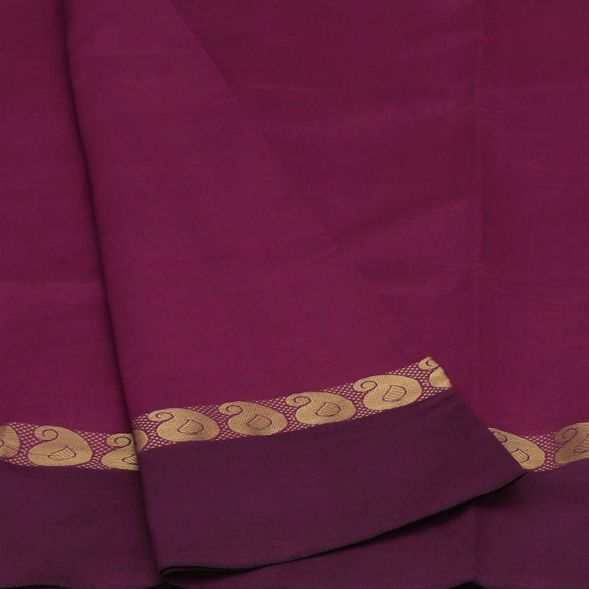Blended Cotton Saree Dark Pink Shade and Blue with Mango zari border 9 Yard