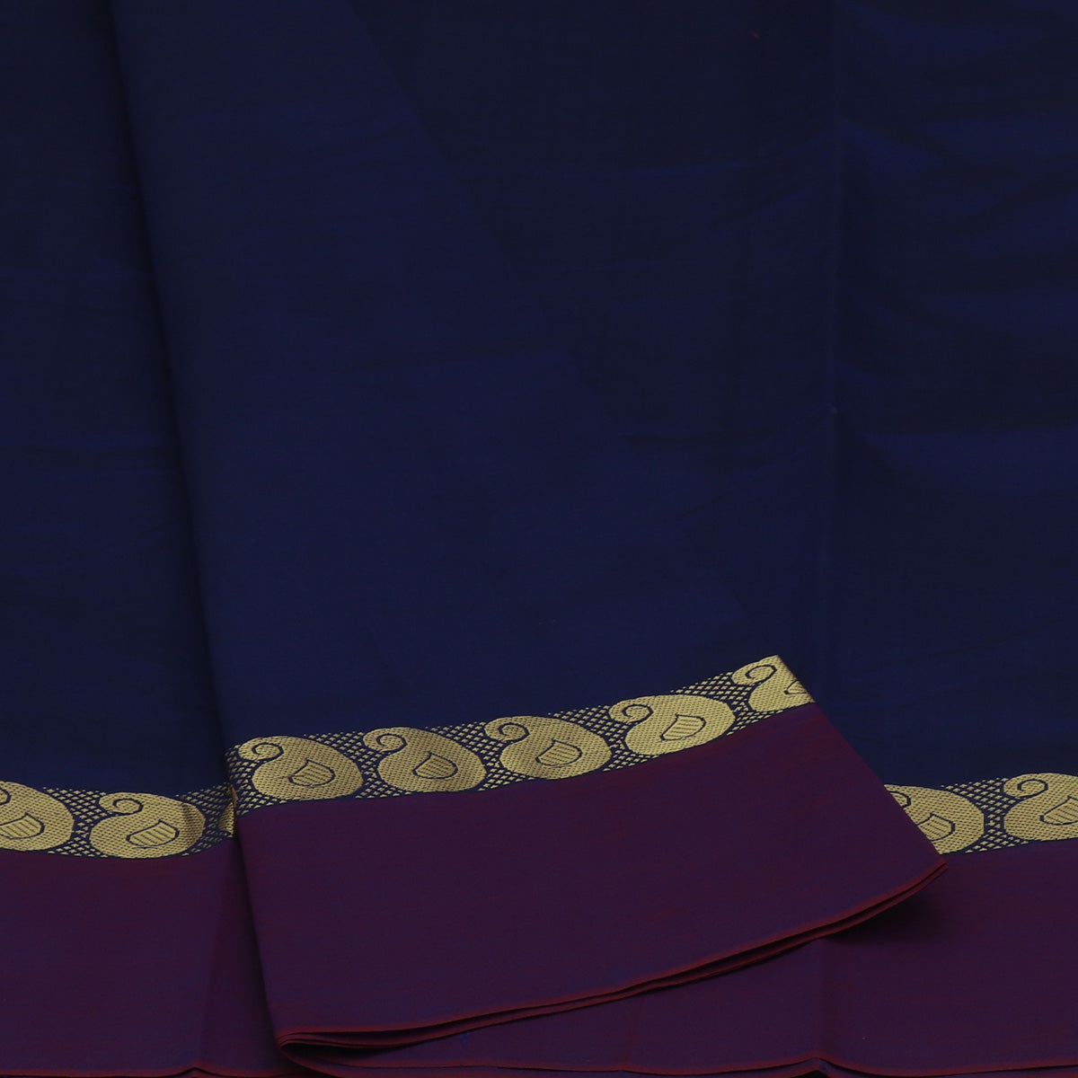 Blended Cotton Saree Navy Blue and Dark Pink shade with Mango zari border 9 Yard