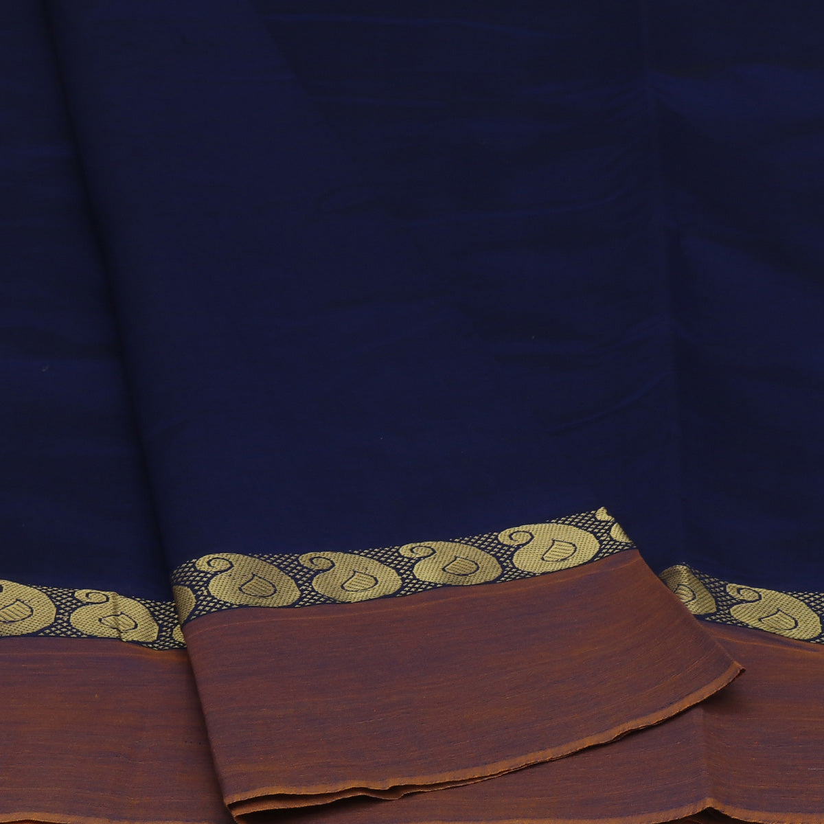 Blended Cotton Saree Navy Blue and Dark Mustard with Mango zari border 9 Yard