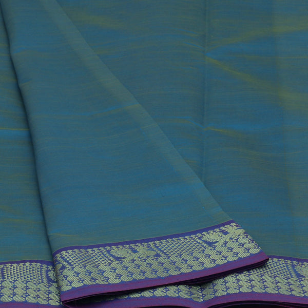 Semi Silk Cotton Saree Teal Blue and Pink with Annam Zari border