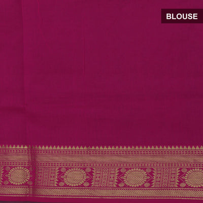 Semi Silk Cotton Saree Green shade and Pink with Round Zari border