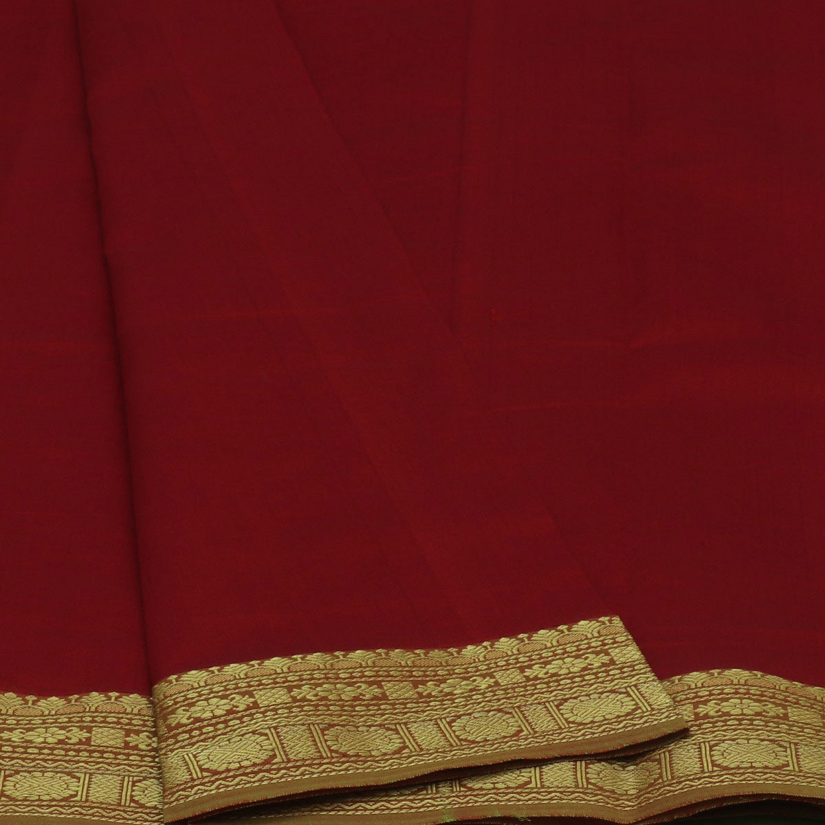 Semi Silk Cotton Saree Red and Mehandi Green with Round Zari border