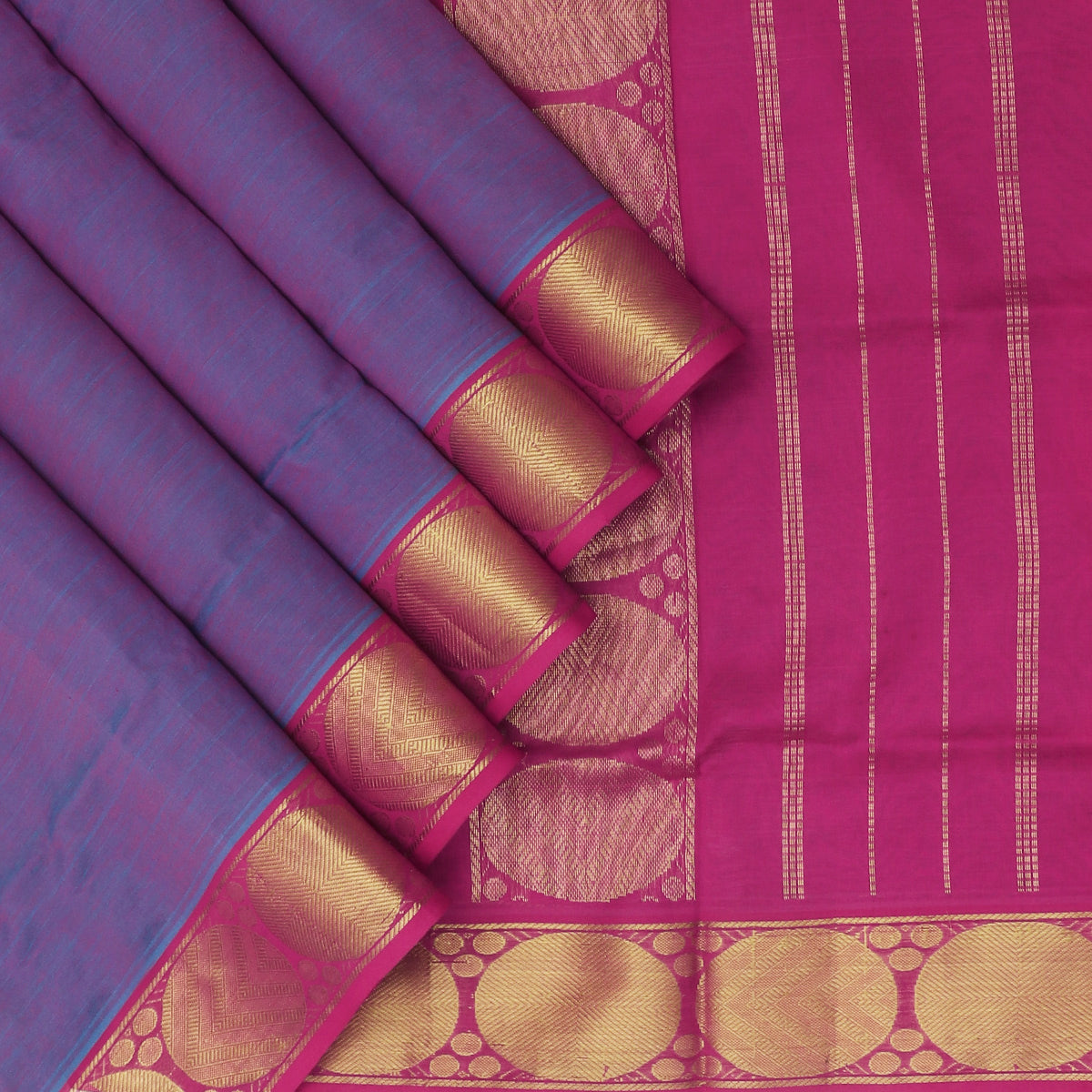Semi Silk Cotton Saree Violet and Pink Dual Shade with Round Zari border for Rs.Rs. 2450.00 | Cotton Sarees by Prashanti Sarees