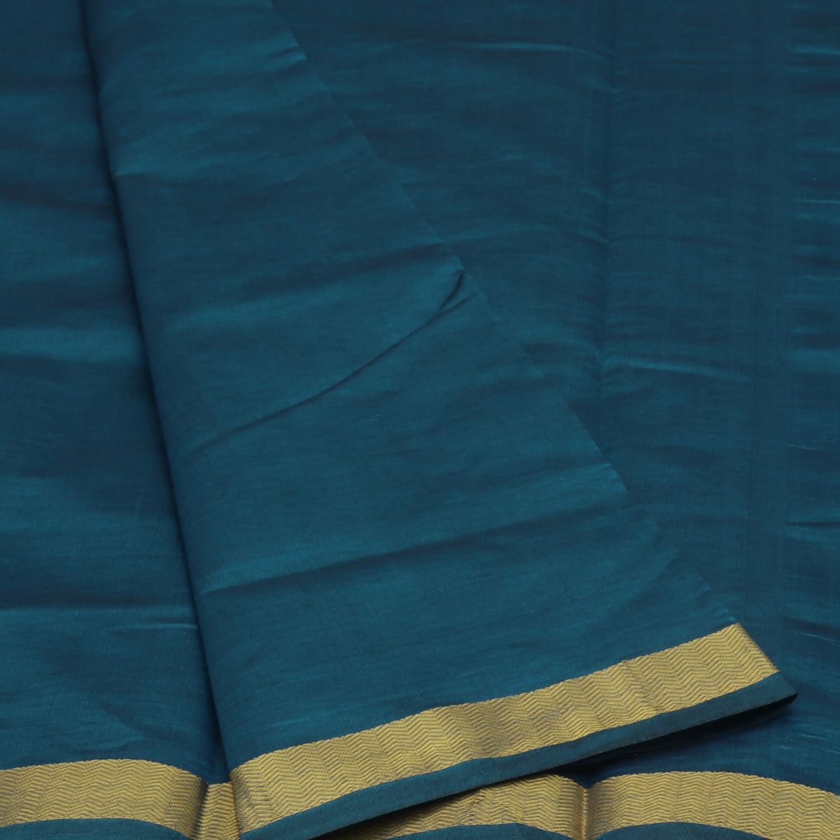 Blended Cotton Saree  Peacock Blue and Maroon with Wave zari border 9 yards