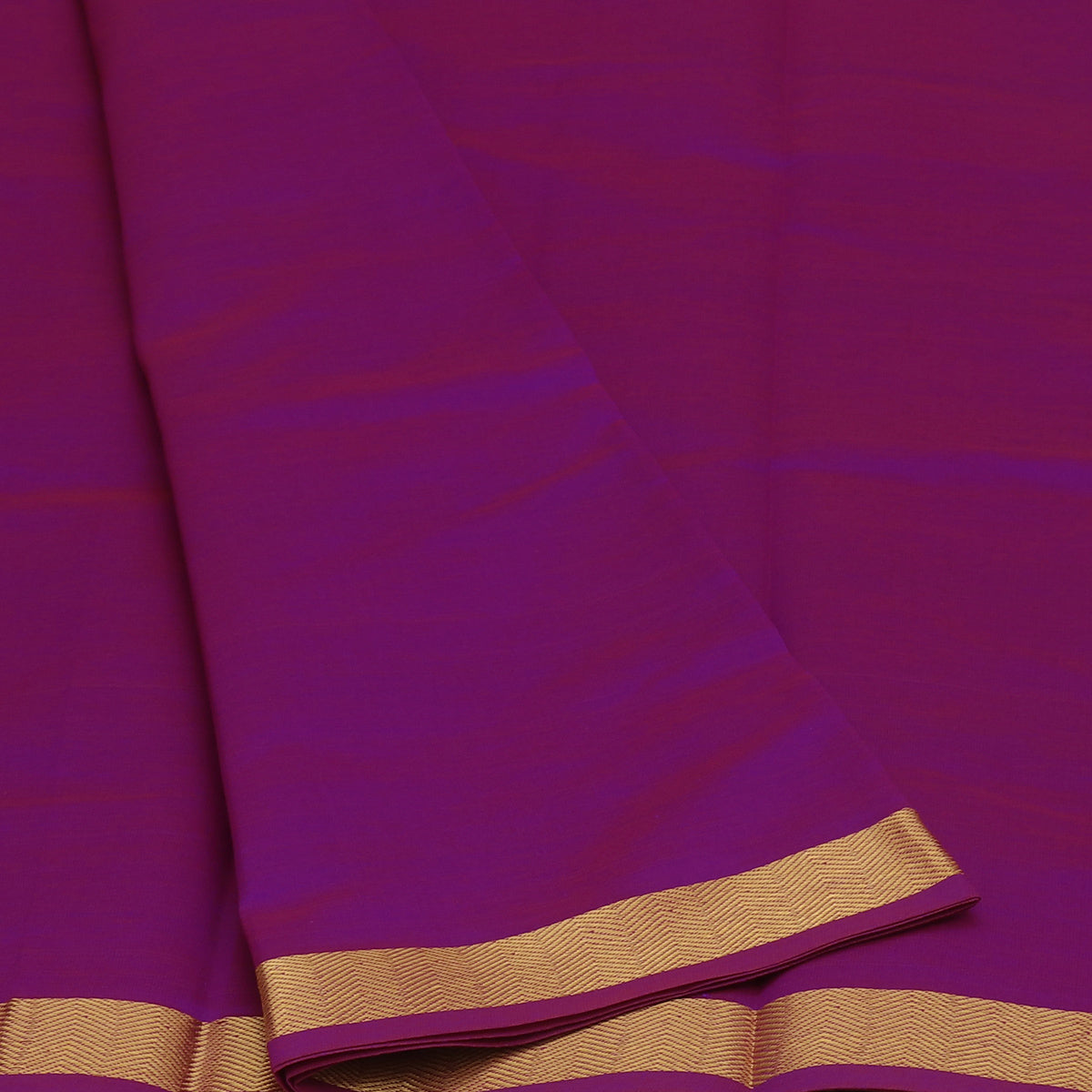 Blended Cotton Saree Magenta and Pine Green with Wave zari border 9 yards