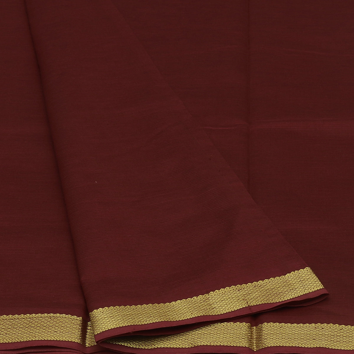 Blended Cotton Saree Maroon and Honey Color with zari border 9 yards