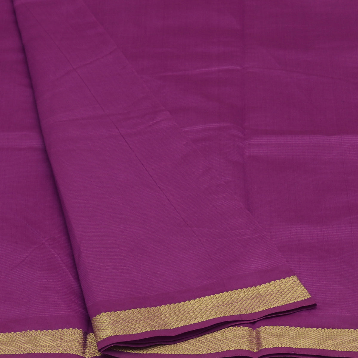 Blended Cotton Saree Onion Color and Maroon with zari border 9 yards