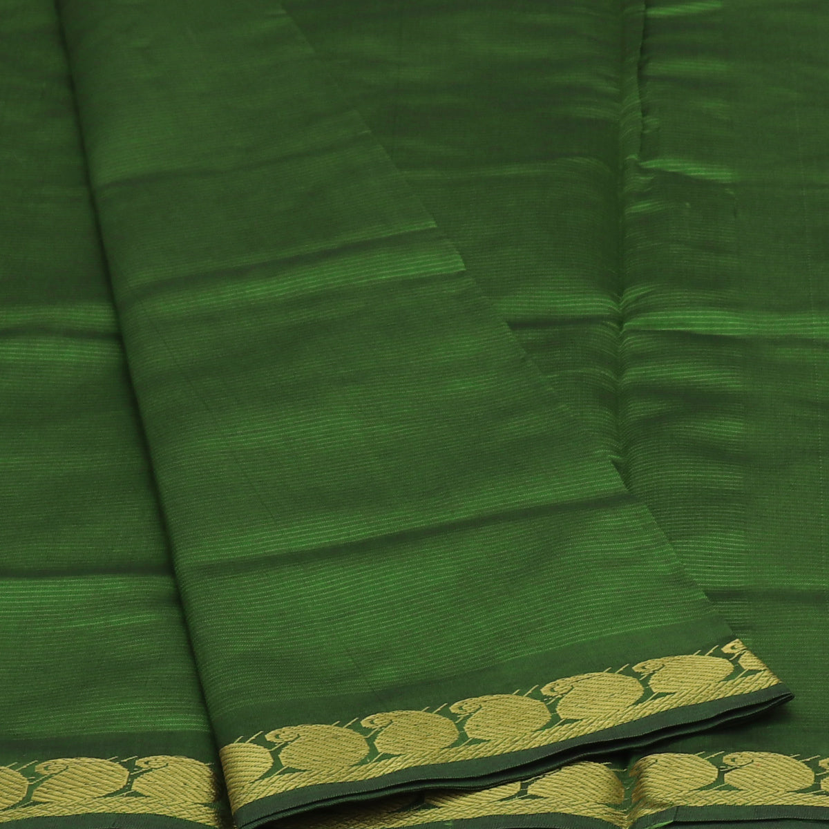 Blended Cotton Saree Pine Green and Honey Color with Mango zari border 9 yards