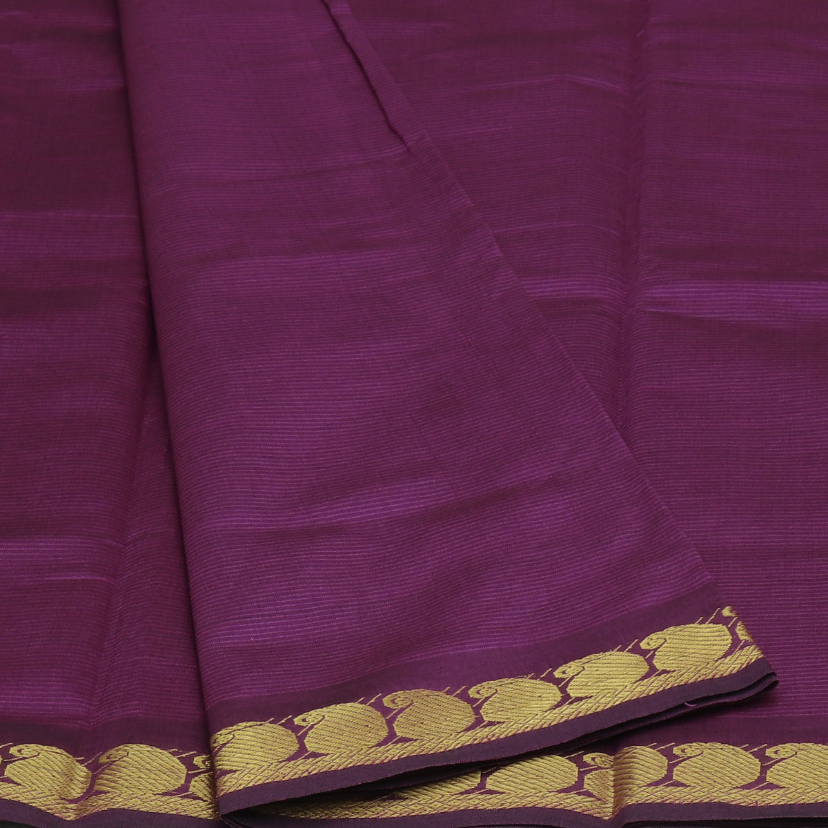 Blended Cotton Saree Violet and Green with Mango zari border 9 yards
