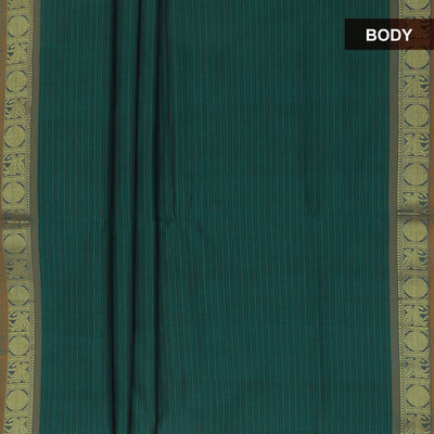 Blended Cotton Saree Green and Maroon with Coin zari border