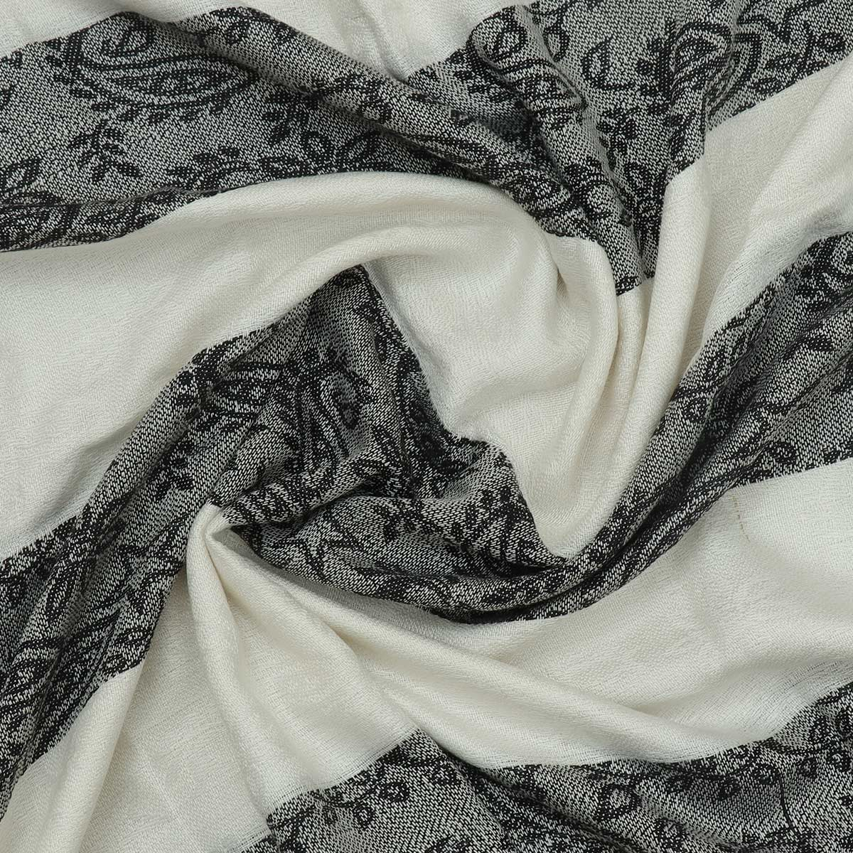 Semi Pashmina Stole Black and Off white with Mango design
