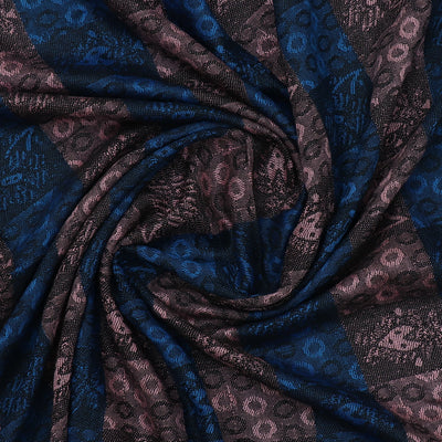 Semi Pashmina Stole Blue and Black with Simple design