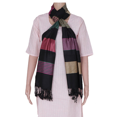 Semi Pashmina Stole Black and Pink with Line design