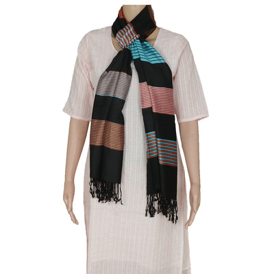 Semi Pashmina Stole Black and Blue with Line design