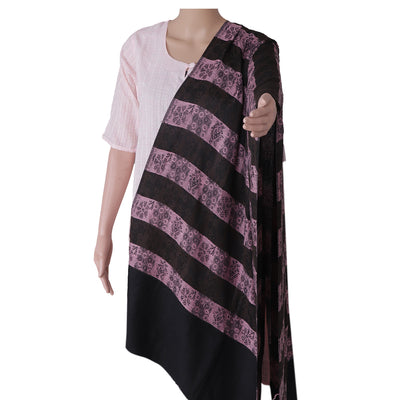 Semi Pashmina Stole Light Pink and Brown with Simple design