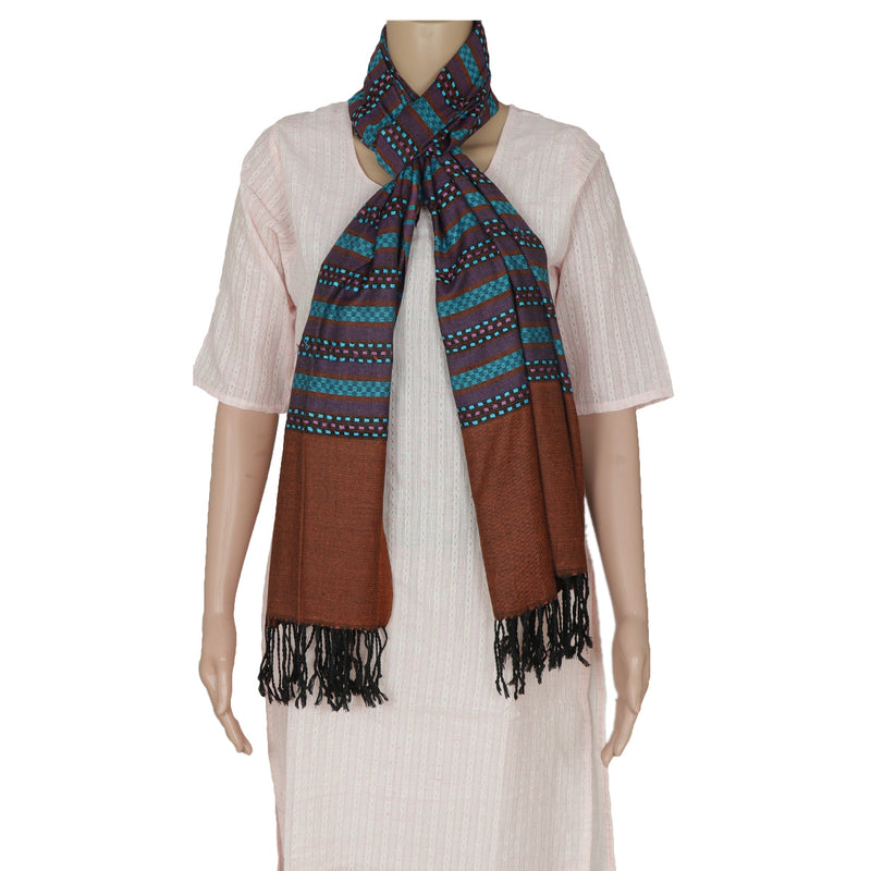 Semi Pashmina Stole Blue and Brown with Lines for Rs.Rs. 750.00 | Stoles by Prashanti Sarees