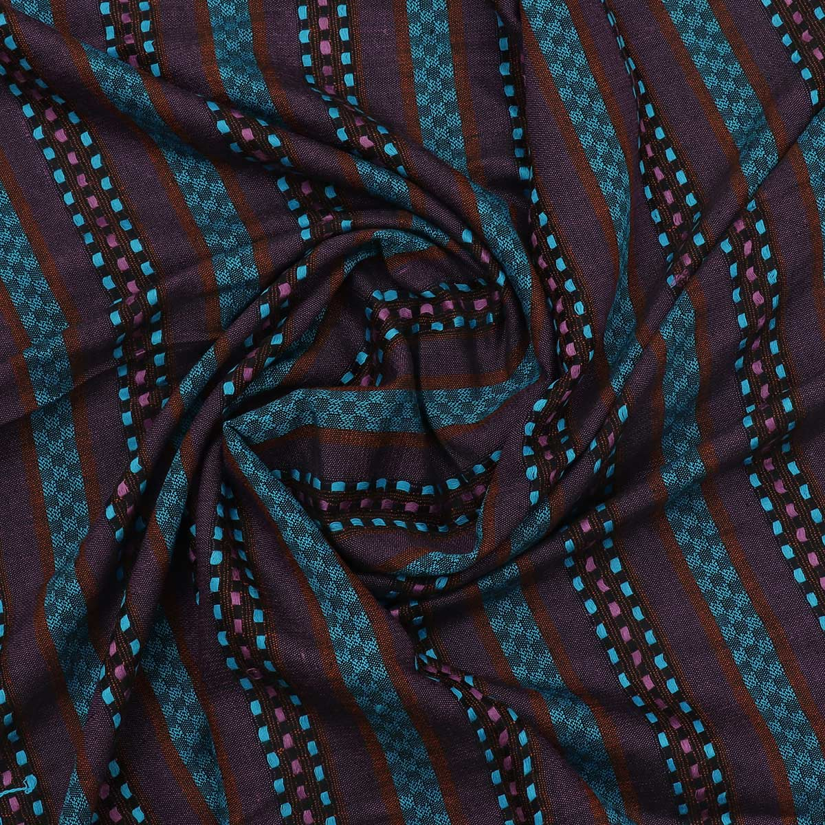 Semi Pashmina Stole Blue and Brown with Lines
