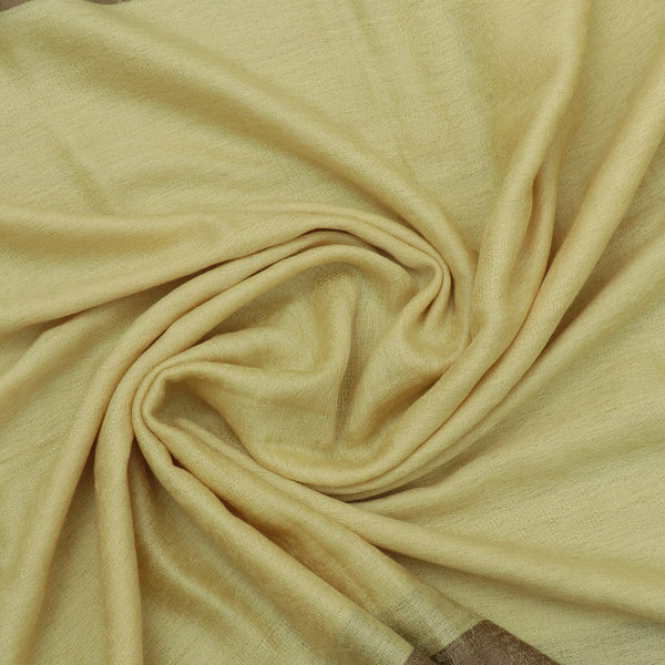 Pure Pashmina Stole Light Yellow and Brown with Leaf design