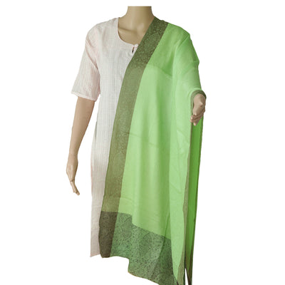 Pure Pashmina Stole Light Green and Brown with Leaf design