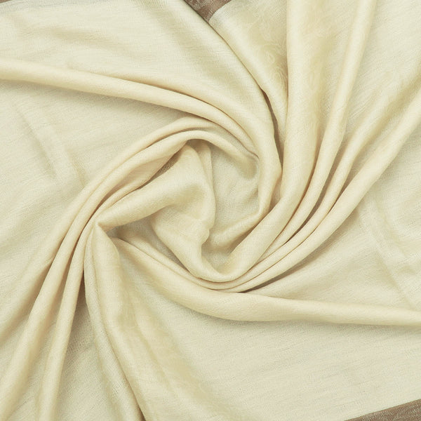 Pure Pashmina Stole Beige and Brown with Leaf design