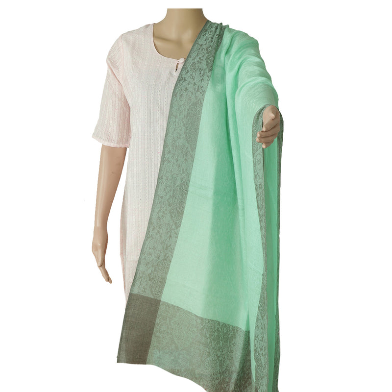 Pure Pashmina Stole Light Green and Grey with Leaf design