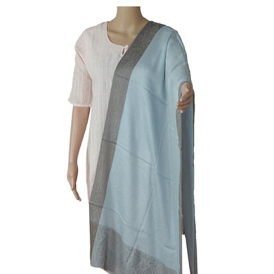 Pure Pashmina Stole Light Blue and Brown with Leaf design