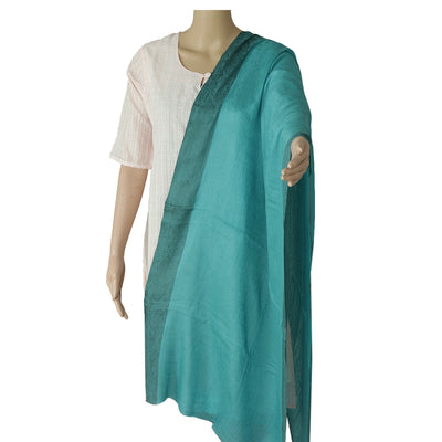 Pure Pashmina Stole Sea Green with Leaf design