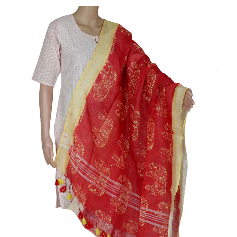 Digital Printed linen Dupatta Red and Yellow With zari Border