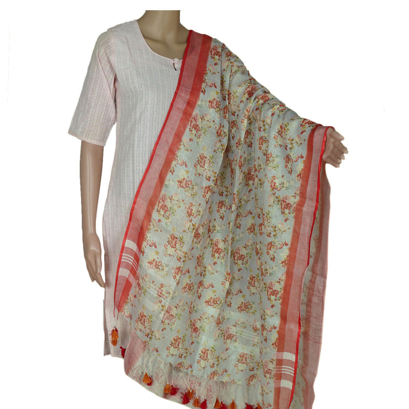 Digital Printed linen Dupatta Light Sky Blue and Red With zari Border