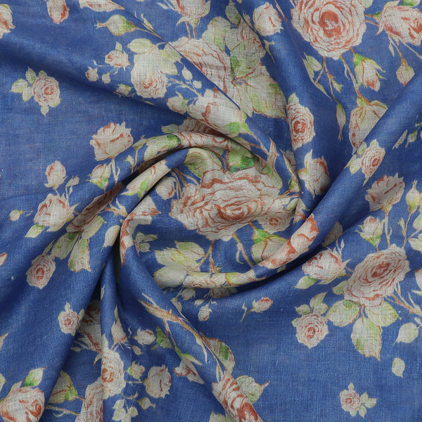 Digital Printed linen Dupatta Blue With zari Border