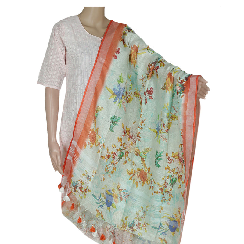 Digital Printed linen Dupatta Off white Sky blue and Orange With zari Border