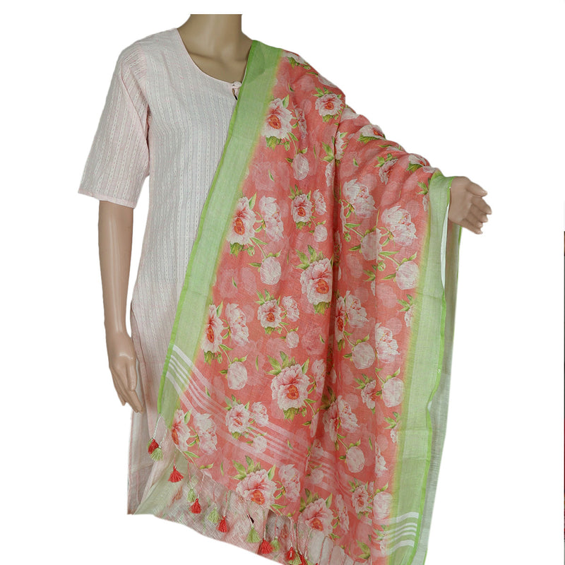 Digital Printed linen Dupatta Pink and Pear Green With zari Border