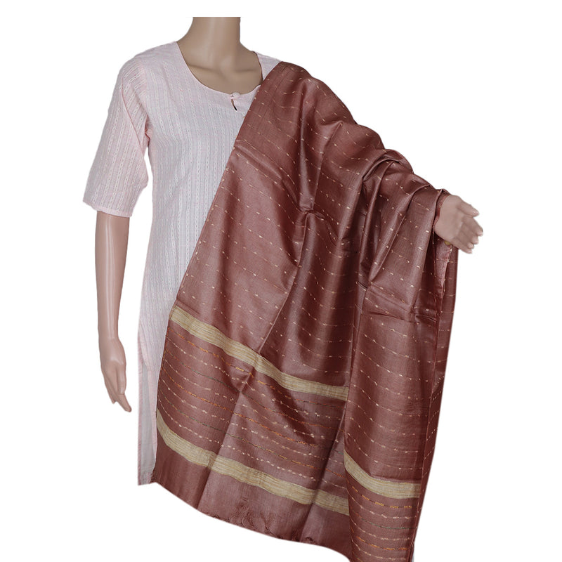 Pure Tussar Silk Dupatta with Brown