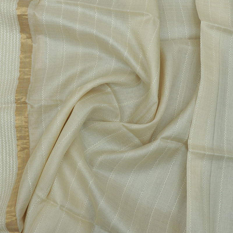 Pure Tussar Silk Dupatta with white