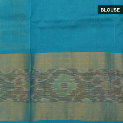Silk Cotton Saree - Pale Green and Blue with long Ikkat border for Rs.Rs. 4120.00 | by Prashanti Sarees