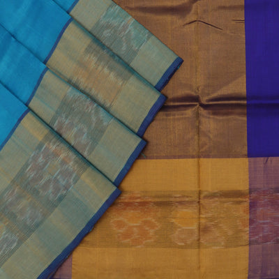 Silk Cotton Saree - Sky Blue and Blue with Long Ikkat border