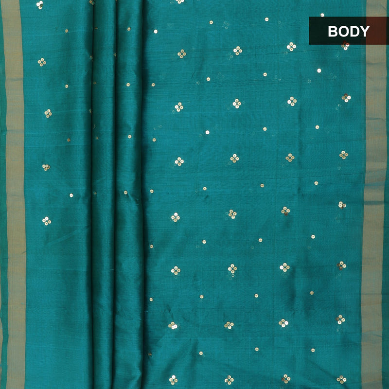 Silk Cotton Saree - Bluish Green with Embroidery and Brocade blouse