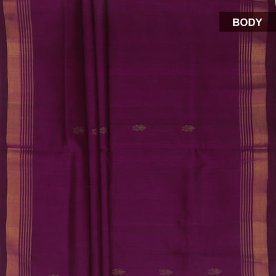 Silk Cotton Saree : Magenta and Green with kaddi Border and Butta