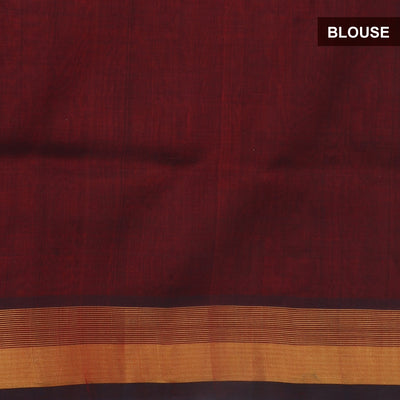 Silk Cotton Saree : Violet and Maroon with kaddi Border and Butta
