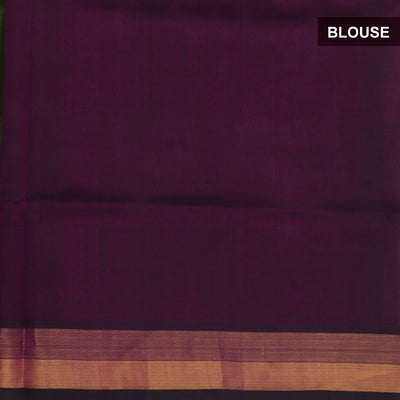 Silk Cotton Saree :Green and Violet with kaddi Border and Butta