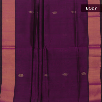 Silk Cotton Saree : Magenta and Light green with kaddi Border and Butta