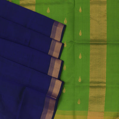 Silk Cotton Saree : Violet and Light Green with kaddi Border and Butta