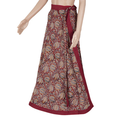 Kalamkari Biege and Maroon wrap around skirt