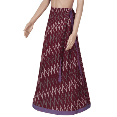 Ikkat Maroon and Violet wrap around skirt